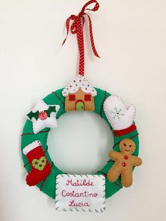 Christmas Wreath With 6 Elements In Felt Handmade Decorations Ornament Garland