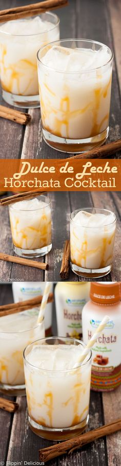 This Easy Dulce De Leche Horchata Cocktail is sweet and nutty with great caramel flavor and just a hint of cinnamon. Celebrate Happy Hour at home! AD