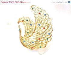 ON SALE Vintage Peacock Rhinestone Brooch Figural Large Red Green Blue