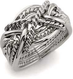 LADIES 8 band STERLING SILVER Puzzle Ring rope design
