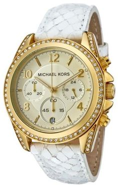 Michael Kors MK5282 Gold Tone Case   Dial White Leather Band Women s Watch 7c9bbe587aa