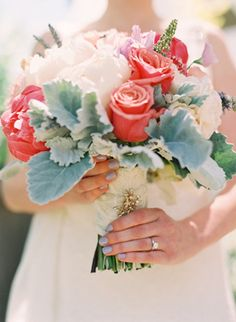 Bouquet: wildflowers, herbs, lamb's ear, roses and peonies / Michelle Warren Photography