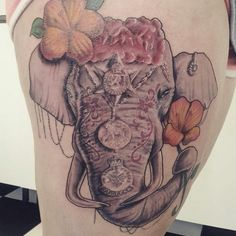 My beautiful Martha #tattoo #elephanttattoo #elephant #thighpiece #thightattoo #medals #family #grandparents