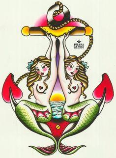 Two Mermaids by Susana Alonso Nautical Anchor Tattoo Canvas Art Print – moodswingsonthenet