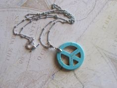 Turquoise Peace Sign Pendant Chain Necklace by LadyInPurple, $15.00