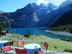 A casual lunch that we may be having very soon. Nothing much, just a view of the Swiss Alps by Lake Oeschinen.