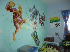 FLORA - MURALS - KIDS ROOMS - Kids room murals - Ben 10 and alien heroes. Full wall view.