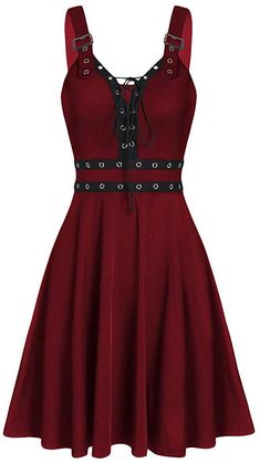 Photo Gallery - Lace Up Solid Fit And Flare Gothic Dress Elegant Dresses, Casual Dresses, Short Dresses, Dresses Dresses, Dance Dresses, Party Dresses, Sweetheart Dress, Gothic Dress, Spaghetti Strap Dresses