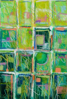 """""""Lime Quilt"""" - Carol Engles  -  abstract mixed media painting on paper, 19""""H x 15""""W    abstract mixed media painting on paper        19""""H x 15""""W"""