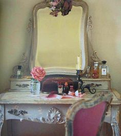 Dressing table with flowers and fragrance