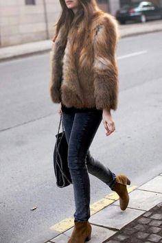 Short brown fur, jeans, booties