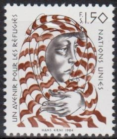 United Nations postage stamp commemorating A better future for Refugees, 1984.