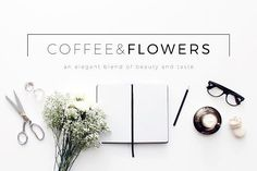 Coffee & Flowers Header Image Bundle by Design Love Shop on @creativemarket