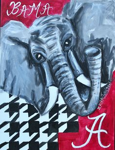 Big Al - Roll Tide Roll Alabama football Crimson Tide - Original Acrylic Painting on canvas board 9 x 12 inches. $59.40, via Etsy.