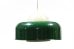 """Large plastic pendant light from Swedish producer """"Fagerhults belysning"""". Good vintage condition but some scratches on the dark green shade."""