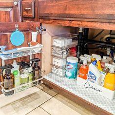 Under Kitchen Sink Organization, Kitchen Storage, Organization Ideas For The Home, Organization Station, Cabinet Storage, Organizing Ideas, Best Laminate, Sink Organizer, Declutter Your Home