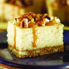 Caramel Pecan Cheesecake Squares - Who can resist the combination of caramel, pecans and cheesecake?