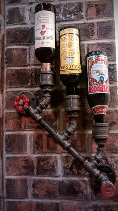 Customized Wall Mount Wine Rack Three Bottle Holder Steampunk Industrial Pipe