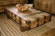 www.salvageantiques.com  Vintage rustic coffee table