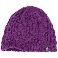 The North Face Women's Cable Minna Beanie ($35) ❤ liked on Polyvore featuring accessories, hats, gravity purple, purple hat, purple beanie, cable hat, beanie hats and cable knit beanie hat