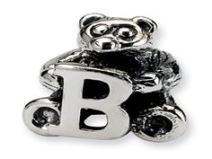 """Kids Personalized Silver Letter """"B"""" Initial Teddy Bear Charm Bead (Online at Gemologica.com)"""