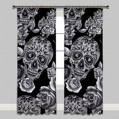 Signature Black Sugar Skull Curtains or Sheers