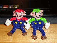 Rainbow Loom MARIO and LUIGI. Loomed by Lisa Ivory. Designed by ElegantFashion360. Rainbow Loom Obsession FB page.03/09/14