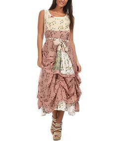 Look what I found on #zulily! Pink & Beige Floral Sleeveless Dress by Ian Mosh #zulilyfinds