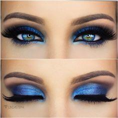 Olhos azuis e sombra azul royal = tudo a ver!!!