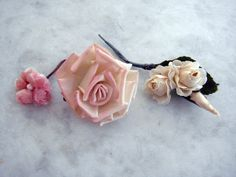 Vintage 1950's millinery flowers 3 piece assorted pink small flowers