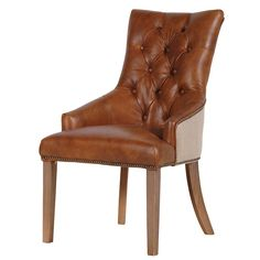 Tan Leather Button Back Dining Chair