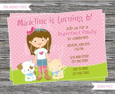 DIY - Girl with kitty and Puppy Birthday Party Invitation #420- Coordinating Items Available by PinkMonkeyPrints on Etsy https://www.etsy.com/listing/206254612/diy-girl-with-kitty-and-puppy-birthday
