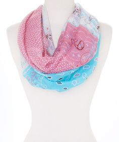 Another great find on #zulily! Pink & Blue Floral Infinity Scarf by Rapti #zulilyfinds