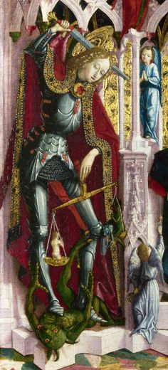 "Saint Michael weighs human souls and tramples the devil: detail from ""The Virgin and Child Enthroned with Angels and Saints"",   about 1475, Probably by Michael Pacher, National Gallery, London"