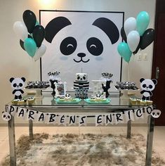 Panda Themed Party, Panda Birthday Party, First Birthday Party Themes, Panda Party, Unicorn Birthday Parties, Baby Birthday, Panda Decorations, Birthday Party Decorations, Baby Shower Decorations