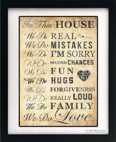 In this House we do Love / Family  Shabby Chic by WallandFrame, $22.00