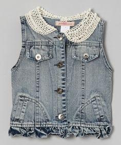 Medium Wash Lace Collar Denim Vest - Toddler & Girls
