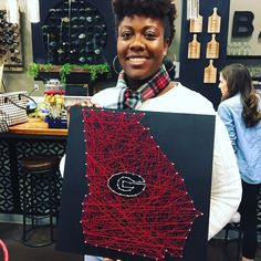 Love this string art made at the studio yesterday! Another Georgia shout out! Speaking of...we are here in #Georgia! We are interviewing this week for our second We just crossed the #georgia location in the mixed use shoppes of @vickeryvillageshops in Cumming GA just 45 minutes outside of Atlanta. Please email georgia@pinspiration.com if you are interested in working at Pinspiration!  #pinspirationaz #franchise #pinterest #diy #growing #viceryvillage #cummingga #comingsoon #newlocation…