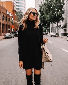 Black Sweater Dress, Sweater Dress Outfit, Black Sweaters, Dress Black, Sweater Dresses, Fall Dress Outfits, Black Turtleneck Outfit, Fall Dresses, Fashion Mode