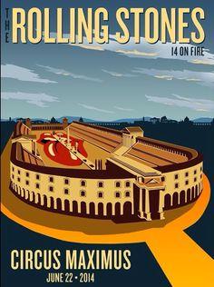 Rolling Stones Poster - 22/06/2014 - Roma - Circo Massimo - 14OnFireTour