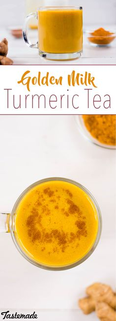 Made with turmeric, ginger, coconut milk and more, this fragrant golden tea is our new addiction. Tumeric Tea Recipe, Tumeric And Ginger, Turmeric Drink, Golden Tea, Golden Milk, Healthy Smoothies, Healthy Drinks, Healthy Recipes, Coconut Milk Tea
