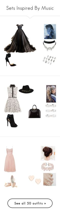 """Sets Inspired By Music"" by graceinicole ❤ liked on Polyvore featuring Christian Louboutin, WithChic, Mela Loves London, ASOS, Apt. 9, Miss Selfridge, Louis Vuitton, Needle & Thread, Ted Baker and Posh Girl"