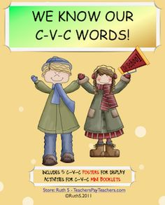 Creating this cute CVC book is fun as kids learn their short vowel sounds! Five CVC posters are included! priced item
