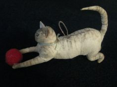 Cat Chasing A Ball Antique German Spun Cotton Christmas Ornament! Great! Sold.
