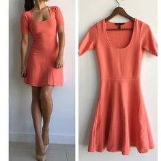 """BCBGMAXAZRIA Coral Flare Dress BCBGMAXAZRIA Coral Stretch knit 'madisyn' 3/4 sleeve dress! Such a great dress that fits amazing! Wear it with a pair of nude pumps for effortless chic look. Deep scoop neckline. Slip on. Banded waist. Trumpet skirt. Unlined. 72% rayon 28% polyester. Has subtle piling all around (see last photo for accurate representation) measurements chest-31"""" waist-27"""" length- 36"""" BCBGMaxAzria Dresses"""