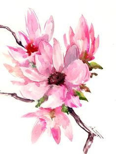 Magnolia abstract Pink white, floral painting, original watercolor painting, white pink magnolia flowers. brush painting Asian, magnolias by ORIGINALONLY on Etsy #watercolorarts