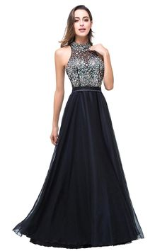 Aliexpress.com   Buy Babyonline Real Photo Sexy Black Long Evening Dress  2017 HaLter Open Back Beaded Crystal Sleeveless Fromal Dress Robe De Soiree  from ... ef14515ebea3
