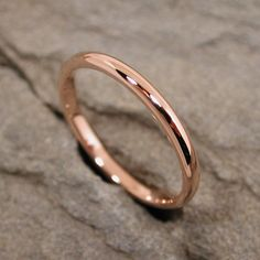 Rose Gold Wedding Band 14k Modern Romantic Pink Gold Ring.