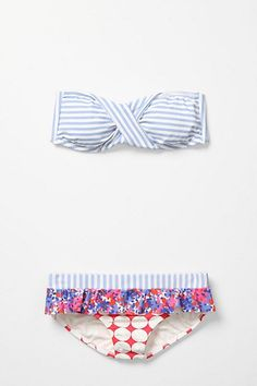 cute swimsuit from anthropologie. stripes, and floral and mixed prints #r29summerstyle
