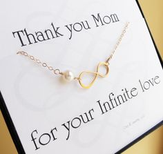 Mother Of The Bride Or Groom Card With Gold Infinity Bracelet, Pearl Bracelet…